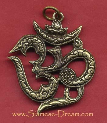 Om Symbol Pendant In Brass The Buddha Garden