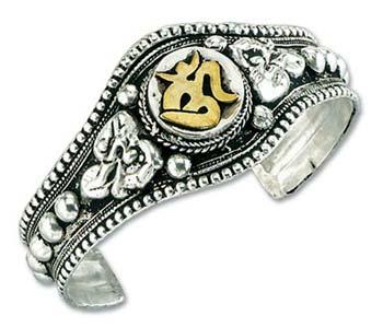 Om Symbol Bracelet With Silver Plating