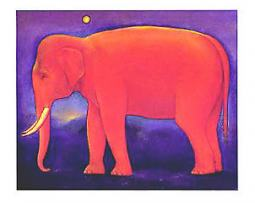 Keun Jan Jam (Night of the Full Moon) Elephant Greetng Card