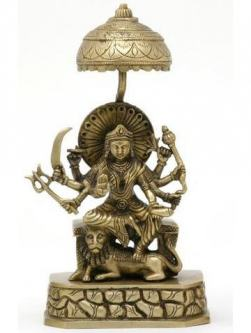 Goddess Durga Sitting on Her Throne