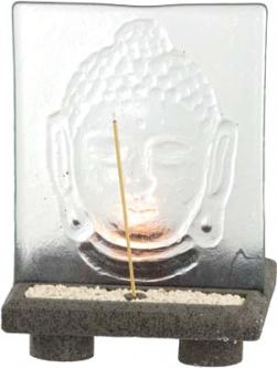Glass Panel Buddha Incense Holder 8 Inches High