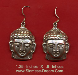 Buddha Head Earrings made from Silver