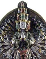 Avalokiteshvara Statue in Bronze Resin, 13 Inches