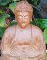Meditating Buddha Statue in Brown Stone, 9 Inches