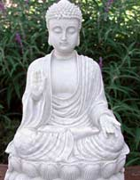 White Buddha Statue With Stone Finish