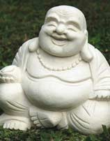 White Laughing Buddha Statue in Stone