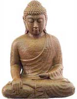 Photo of Buddha Statue making the Bhumisparsha Mudra with the right hand.