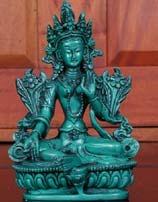 Green Tara Statue in Resin, 6 Inches