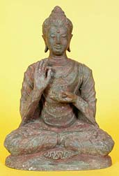 Photo of Buddha Statue displaying th eDharmachakra Mudra
