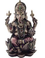 Ganesha On Lotus Throne Statue, 7 Inches