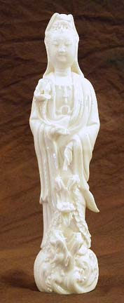 Kuan Yin Standing On Dragons Statue, Porcelain