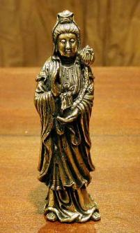 Kuan Yin Figurine in Metal