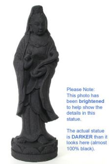 Black Stone Kuan Yin Statue on Lotus, 14 Inches
