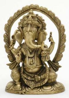 Ganesh Statue on Throne, 10 Inches Tall