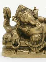 Reclining Ganesha Statue in Brass
