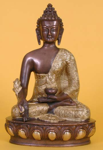 Medicine Buddha Statue Brass And Copper The Buddha Garden