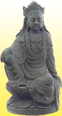 Black Kuan Yin Statue in Stone, 12 Inches