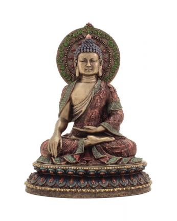 Shakyamuni Buddha Statue in Bronze Resin, 11 Inches