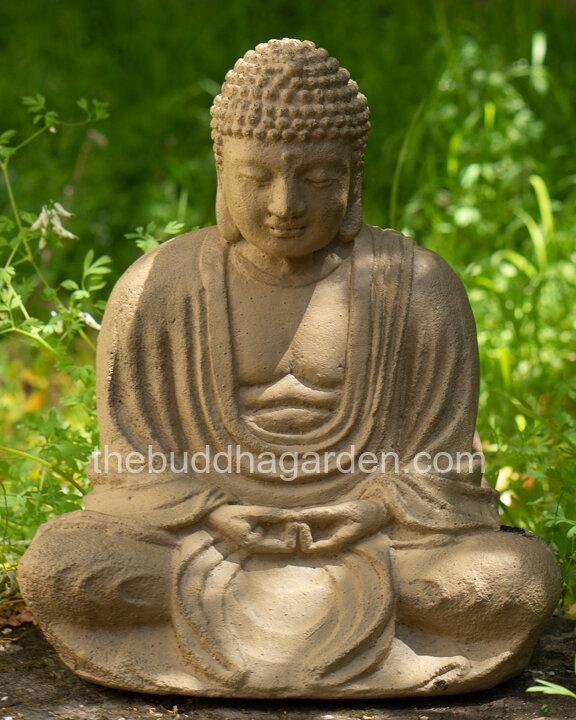Lava Stone Garden Buddha Statue In, Buddha Garden Statues