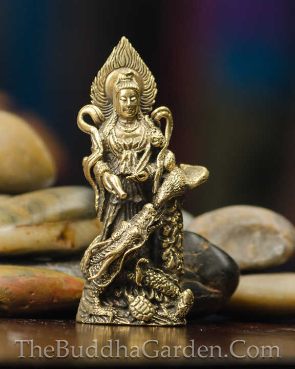Kuan Yin Figurine On Dragon With Flame Halo