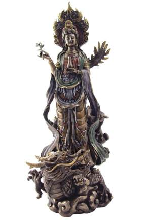 Kuan Yin With Flame Halo On Dragon Statue, 14 Inches