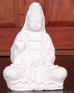 Kuan Yin Statue In Lava Stone, 7 Inches
