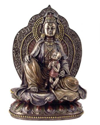 Kuan Yin With Child Statue, 11 Inches