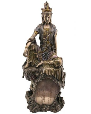 Water and Moon Kuan Yin Statue, 16 Inches