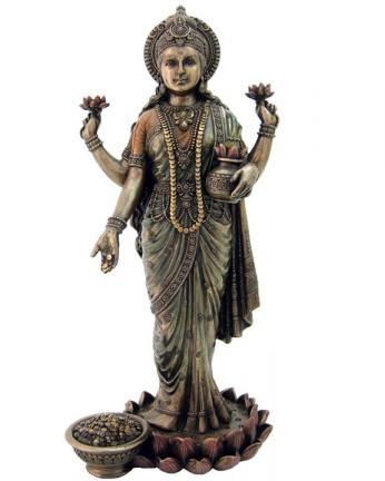 Standing Lakshmi Statue in Bronze Resin  10 InchesLakshmi Statue