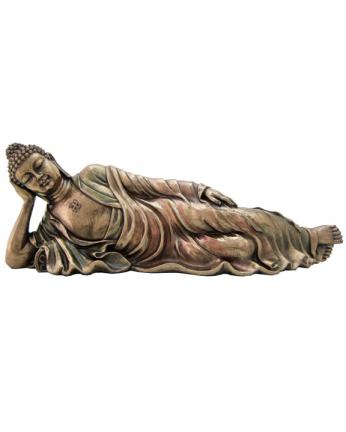 Reclining Buddha Statue in Bronze Resin, 12 Inches Long