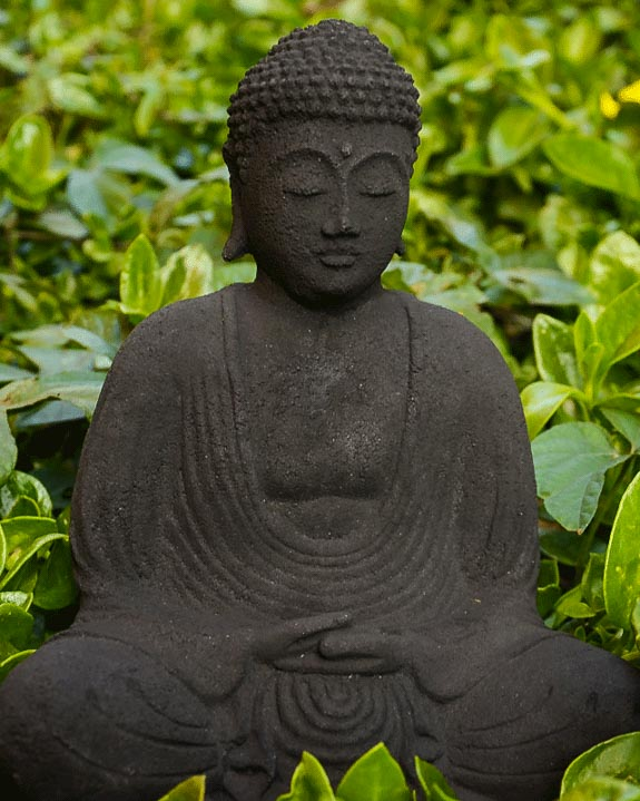 lava stone garden buddha statue in meditation pose the. Black Bedroom Furniture Sets. Home Design Ideas