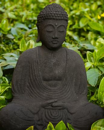 lava stone garden buddha statue in meditation pose the buddha garden. Black Bedroom Furniture Sets. Home Design Ideas
