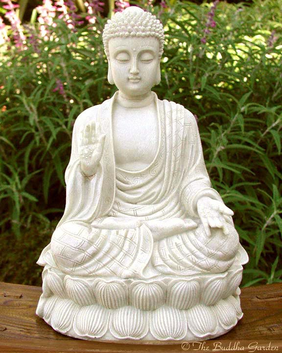 white buddha statue with stone finish the buddha garden. Black Bedroom Furniture Sets. Home Design Ideas