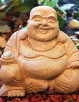 Big Buddha Laughing Stone Statue, 9 Inches