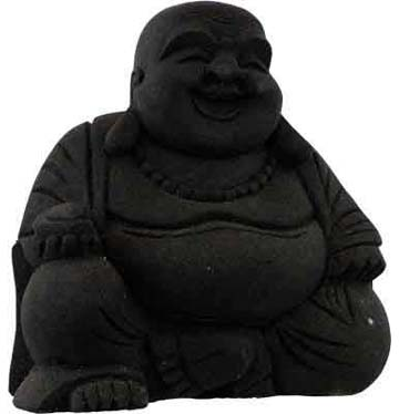 Black Stone Laughing Buddha Statue
