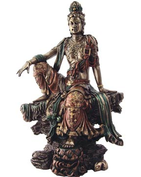 Royal Pose Kuan Yin Statue, 17 Inches