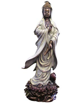 White Kuan Yin Bronze Resin Statue, 12 Inches