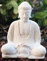 White Stone Buddha Statue, 8.5 Inches