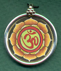 Silver Om Pendant, Painted