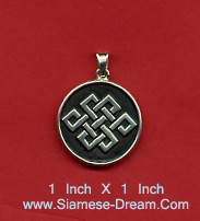 Tibetan Eternal Knot Necklace Pendant in Silver