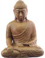 Photo of Buddha Statue making the Bhumisparsha Mudra with the right hand.